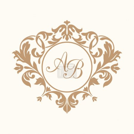 Illustration for Elegant floral monogram design template for one or two letters . Wedding monogram. Calligraphic elegant ornament. Vector illustration. Business sign, monogram identity for restaurant, boutique, cafe, hotel, heraldic, jewelry. - Royalty Free Image