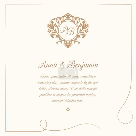 Illustration for Invitation card with monogram. Wedding invitation, Save The Date. Vintage invitation template. Vector illustration - Royalty Free Image
