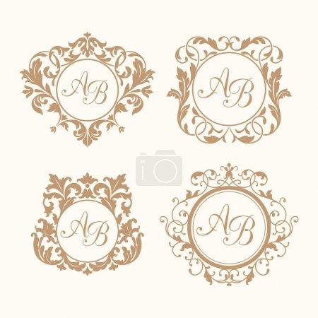 Illustration for Set of elegant floral monogram design templates for one or two letters . Wedding monogram. Calligraphic elegant ornament. Monogram identity for restaurant, hotel, heraldic, jewelry. - Royalty Free Image