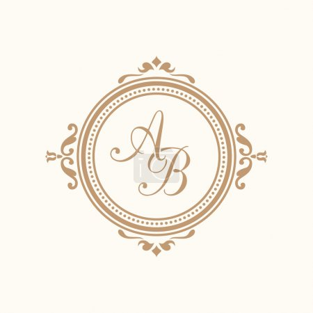 Illustration for Elegant floral monogram design template for one or two letters . Wedding monogram. Calligraphic elegant ornament. Business sign, monogram identity for restaurant, boutique, hotel, heraldic, jewelry. - Royalty Free Image