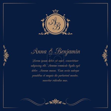 Illustration for Invitation card with monogram on dark blue background. Wedding invitation, Save The Date. Vintage invitation template. Vector illustration - Royalty Free Image
