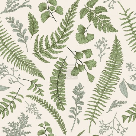 Seamless floral pattern in vintage style. Leaves a...