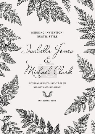 Illustration for Vintage wedding invitation in a rustic style. Leatherleaf fern. Botanical vector illustration. Black and white. - Royalty Free Image