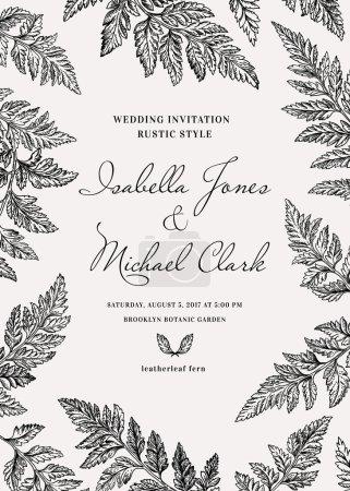 Illustration for Vintage wedding invitation in a rustic style. Leatherleaf fern. Botanical vector illustration. Black and white. - Royalty Free Image