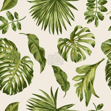 Illustration pour Modèle exotique sans couture avec des feuilles tropicales sur un fond blanc. Illustration vectorielle . - image libre de droit