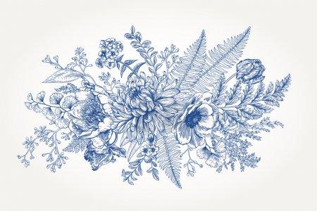 Illustration pour Bouquet avec un jardin vintage fleuri et feuillu. Illustration botanique vectorielle. Chrysanthème, tulipe, pivoine, anémone, phlox, fougères, buis. Eléments de design. Fleurs bleues . - image libre de droit