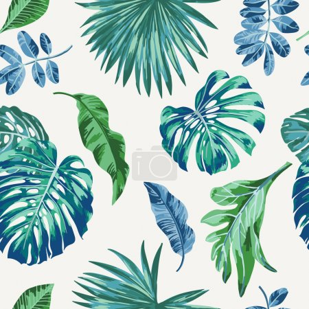 Seamless exotic pattern with tropical leaves . Vec...
