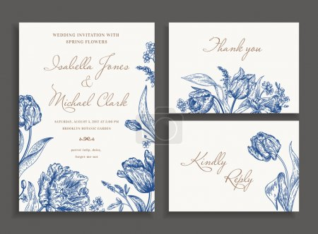 Illustration for Vintage wedding set with spring flowers in blue. Wedding invitation, thank you card. RSVP card. Parrot tulips, daisies, forget-me. Botany. Vector illustration. - Royalty Free Image