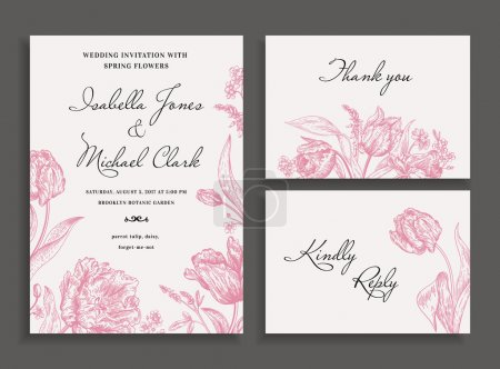 Wedding set with spring flowers