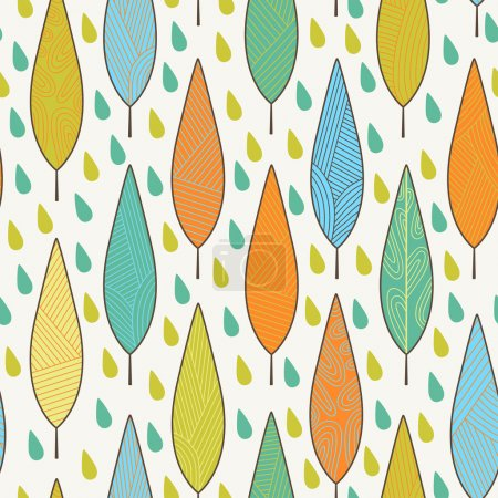 Pattern with leaves and raindrops
