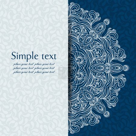 Illustration for Vector abstract background with sample text. Decor is delicate. Perfect for invitations, card, announcement or greetings. Abstract round pattern with curls. Place for your text. - Royalty Free Image