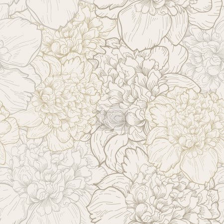 Illustration for Vector seamless floral pattern with beautiful peony. Delicate background with pastel colors. Seamless pattern - Royalty Free Image