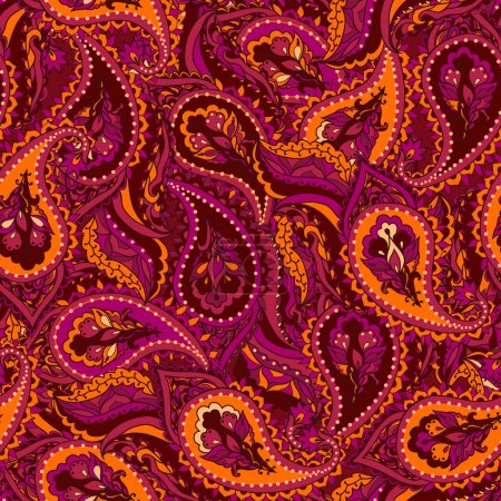 Illustration for Vector seamless paisley Indian pattern. Beautiful background. Seamless pattern can be used for wallpapers, fabric, pattern fills, web page backgrounds, surface textures. - Royalty Free Image