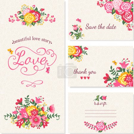 Illustration for Beautiful vintage wedding invitation cards. - Royalty Free Image
