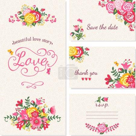 Illustration pour Belles cartes d'invitation de mariage vintage . - image libre de droit