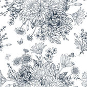 Elegant seamless pattern with bouquets of flowers on a white background Garden asters chrysanthemums daisies Vector monochrome illustration Black and white background