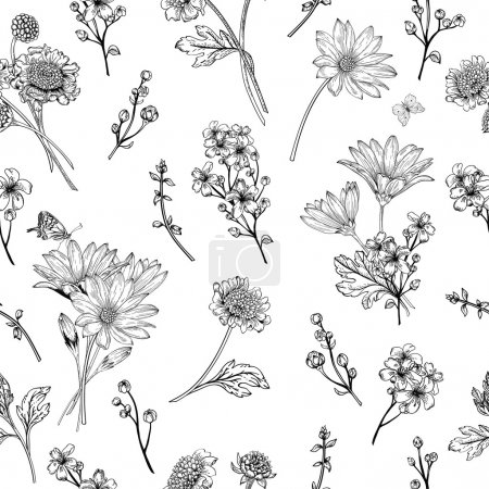 Illustration for Beautiful vintage seamless pattern with  flowers on a white background. Garden asters, chrysanthemums, daisies. Vector illustration. Black and white. - Royalty Free Image