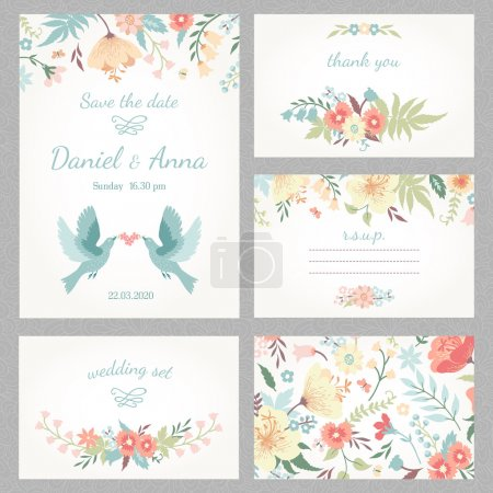 Illustration for Beautiful vintage wedding set with cute flowers and love birds. Wedding invitation, thank you card, save the date cards. RSVP card. Vector illustration. - Royalty Free Image