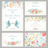 Beautiful vintage wedding set with cute flowers and love birds Wedding invitation thank you card save the date cards RSVP card Vector illustration