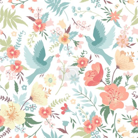 Illustration for Cute vector seamless pattern with birds and flowers in pastel colors. - Royalty Free Image