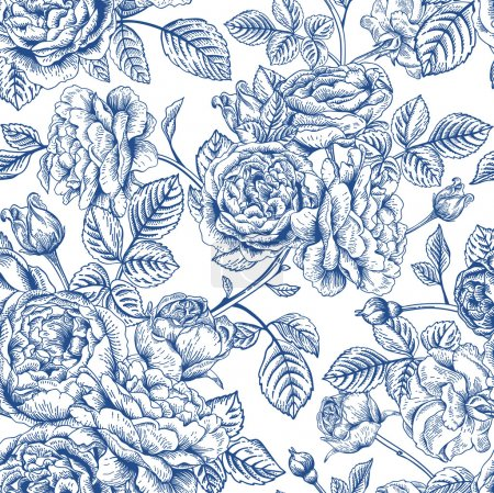 Illustration for Vintage vector seamless pattern with garden roses in blue on a white background. - Royalty Free Image
