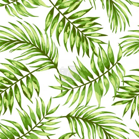 Illustration for Seamless exotic pattern with tropical leaves . Vector illustration. Vector illustration. - Royalty Free Image