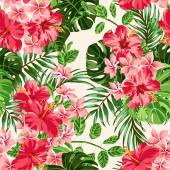 Seamless exotic pattern with tropical leaves and flowers on a white background Plumeria hibiscus monstera palm Vector illustration