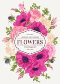 Vintage floral card with garden flowers Anemone rose eustoma eryngium Romantic background Vector illustration