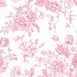 Seamless vector vintage pattern with bouquet of pi...
