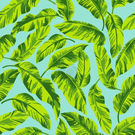 Illustration for Seamless exotic pattern with tropical leaves on a blue background. Vector illustration. - Royalty Free Image