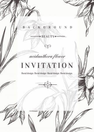 Wedding invitation  with flowers.