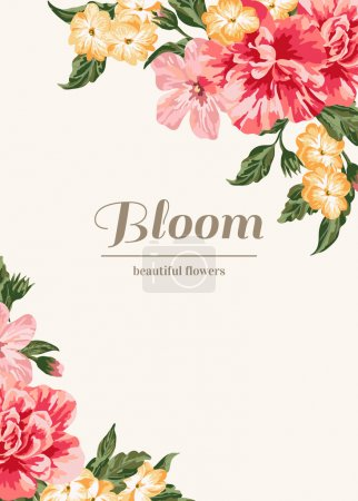 Illustration for Vintage wedding invitation with colorful flowers. Vector illustration. - Royalty Free Image