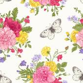 Seamless floral pattern with bouquet of colorful flowers on a white background Peonies roses sweet peas bell Vector illustration