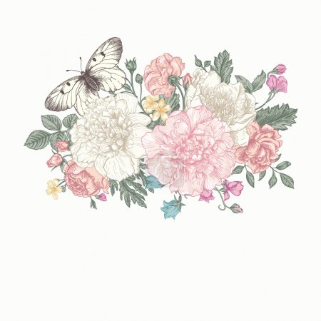 Illustration for Floral background. Card with a bouquet of flowers and a butterfly. Peonies, roses, buttercups, peas. - Royalty Free Image