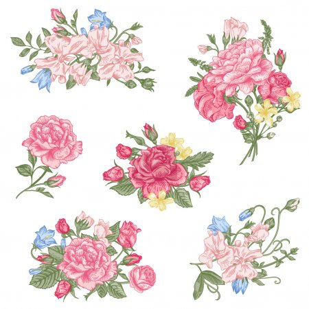 Set of vector floral design elements. A collection...