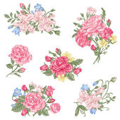 Set of vector floral design elements A collection of romantic bouquets with garden roses sweet peas and bell in pastel colors on a white background