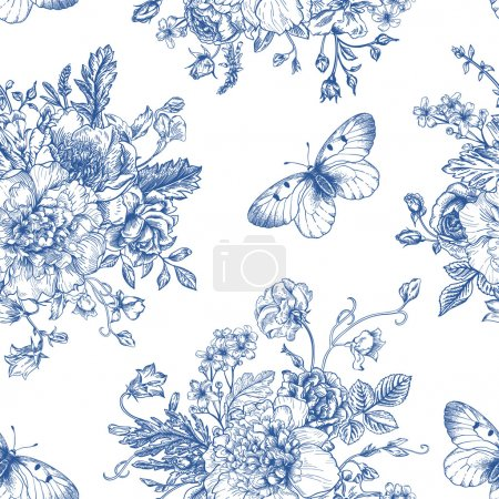 Illustration for Seamless vector vintage pattern with bouquet of blue flowers on a white background. Peonies, roses, sweet peas, bell. Monochrome. - Royalty Free Image