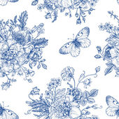 Seamless  pattern  flowers and butterflies