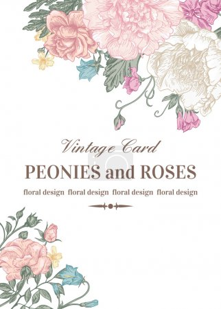 Illustration for Wedding card with roses and peonies in pastel colors on a white background. - Royalty Free Image