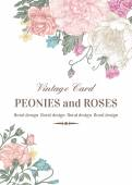Wedding card with roses and peonies in pastel colors on a white background