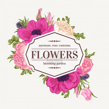 Illustration for Vintage vector frame with summer flowers. Anemone, rose, eustoma, eryngium. - Royalty Free Image