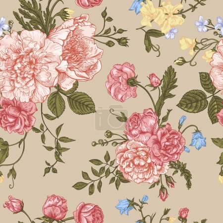 Illustration for Seamless floral pattern with bouquet of colorful flowers on a beige background. Peonies, roses, sweet peas, bell. Vector illustration. - Royalty Free Image