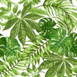 Seamless exotic pattern with tropical leaves on a ...