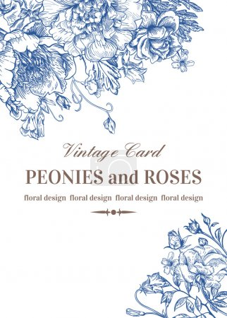 Card with roses and peonies.