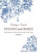 Karta s růží a pivoněk