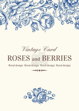 Wedding card with  roses.