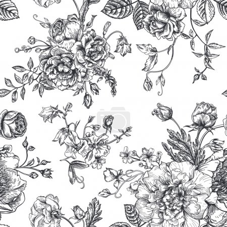 Illustration for Seamless vector vintage pattern with bouquet of black flowers on a white background. Peonies, roses, sweet peas, bell. Monochrome. - Royalty Free Image
