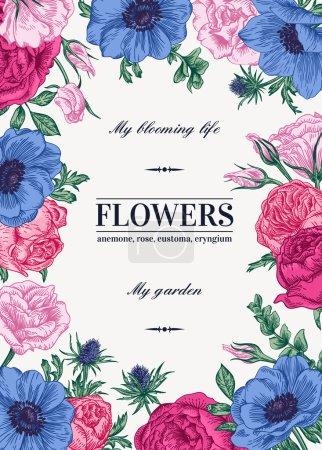 Illustration pour Fond vectoriel floral avec des fleurs colorées. Anémone, rose, eustomie, eustomie . - image libre de droit
