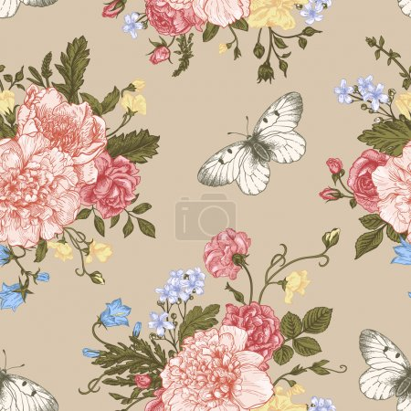 Illustration for Seamless floral pattern with bouquet of colorful flowers on a white background. Peonies, roses, sweet peas, bell. Vector illustration. - Royalty Free Image