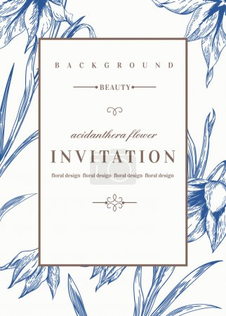 Illustration for Wedding invitation template with flowers. Acidanthera flowers in blue. Vector illustration. - Royalty Free Image